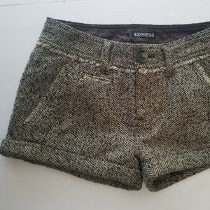 Express Wool blend shorts size 0 Brown Tweed